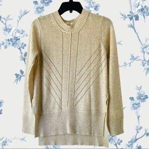 Mystree Ivory Semi Hi-Lo Knit Wool Sweater Sz M